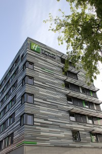 A beautiful sideview of the Holiday Inn Express hotel from Strasbourg Centre